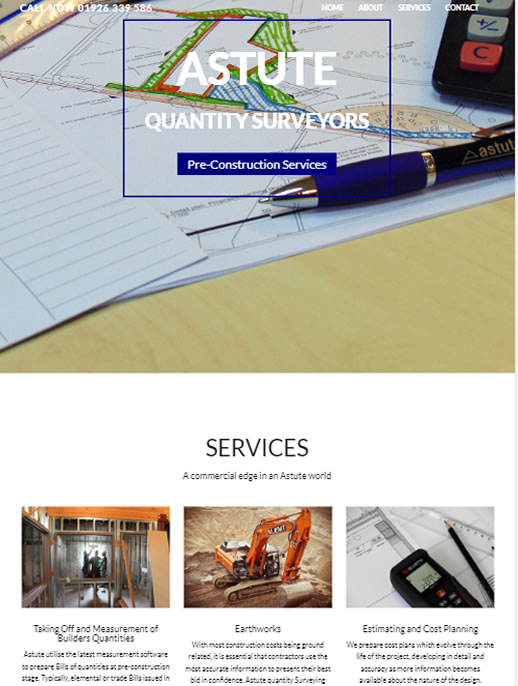 Astute Quantity Surveyors - A BCommercial site by Spa Web Design