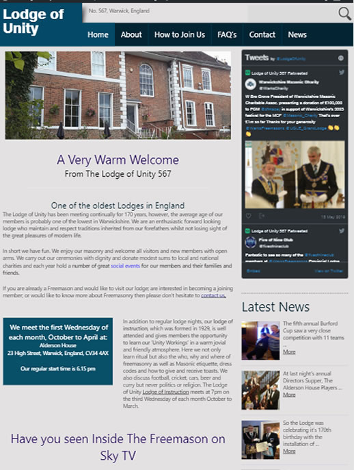 Lodge of Unity - A Brochure site by Spa Web Design