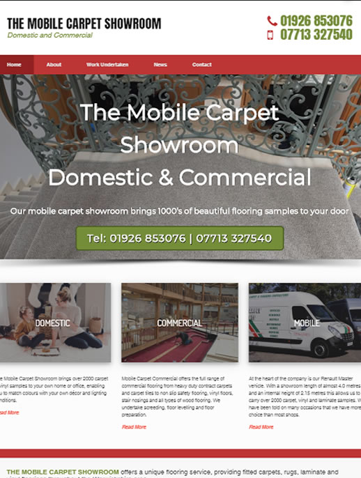 The Mobile Carpet Showroom - A Commercial Brochure Style Website Designed by Spa Web Design