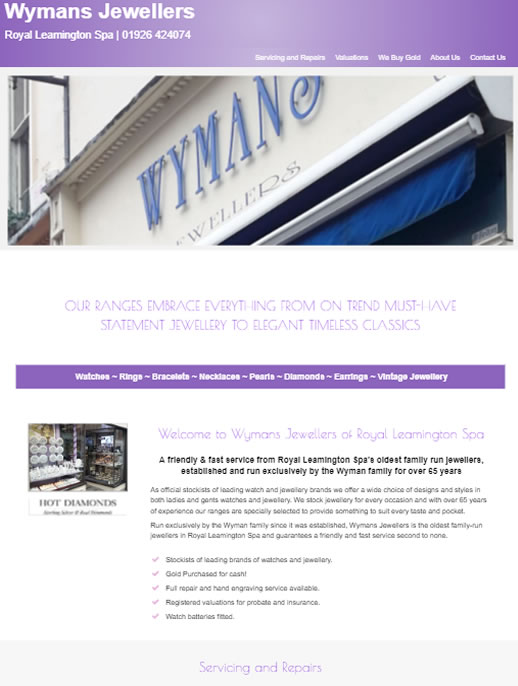 Wymans Jewellers - An eCommerce site by Spa Web Design